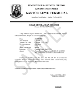 Surat domisili how to get the indonesian letter of domicile sample of a surat domisili courtesy httpsuratketeranganspot altavistaventures Choice Image